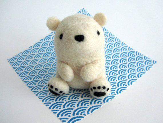 Needle Felted Polar Bear Cub Felt Polar Bear by WildWhimsyWoolies