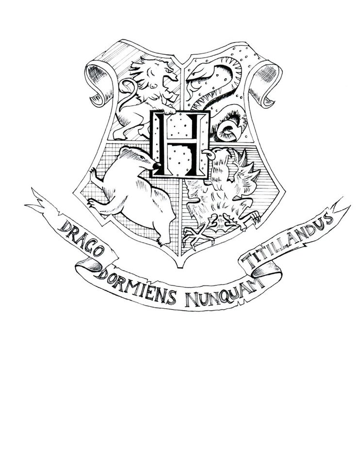 Hogwarts Crest Lineart by on