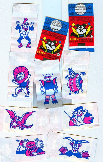 """FUSEN GUM: Fusen chewing gum - fancy """"foreign"""" gum that came with awesome temporary tattoos - i was definitely more into the two-tone design of the tattoos than the gum itself."""
