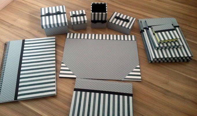 Kit Escritório Completo cinza e preto
