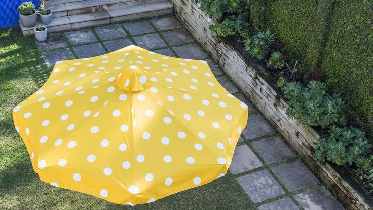 3m Duchess & Deco Outdoor Umbrella with a valance, in Dot Matrix (Yellow) design.
