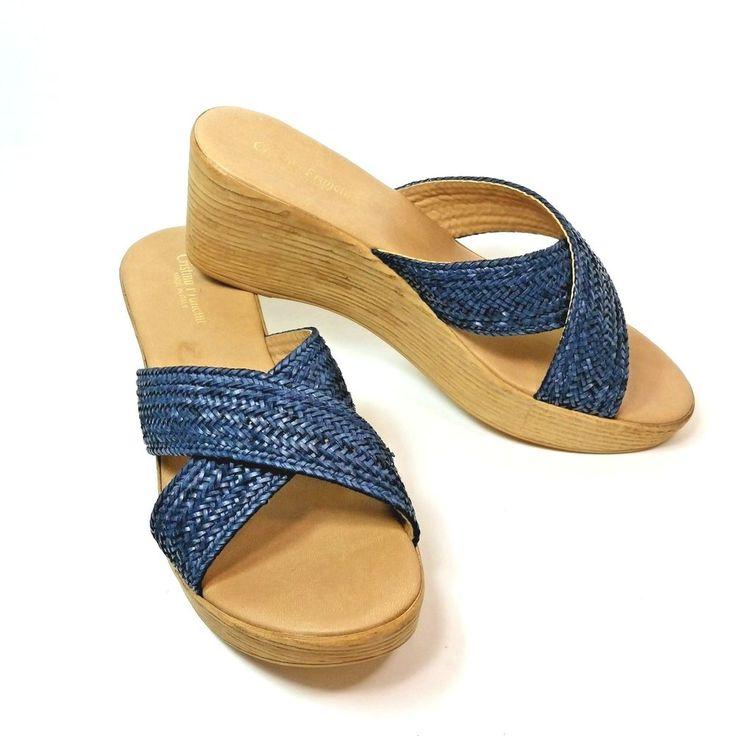Christina Francini Size 8.5 Wedge Platform Sandals Blue Strap Made In Italy  #CristinaFrancini #PlatformsWedges