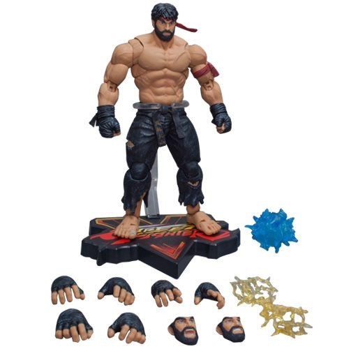 Street Fighter V Hot Ryu Black Pants Ver 1:12 Scale Action Figure - NYCC 2017 Exclusive - Free Shipping  From the highly popular video game franchise, Street Fighter, comes Ryu as he is seen in one of his most popular alternate costumes… commonly referred to by fans as Hot Ryu! The Street Fighter V Hot Ryu Black Pants Ver 1:12 Scale Action Figure – NYCC 2017 Exclusive stands about 7-inches tall. Features over 30 points of articulation, allowing you to pose Ryu i