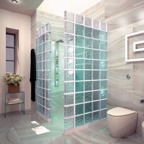 Brique de verre carrée / colorée / métallisée / ondulée AGUA : B-Q 19 REFLEJOS CARIBE by A & F Mendini BORMIOLI ROCCO
