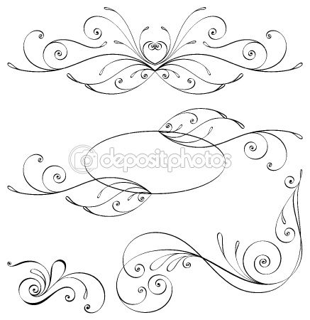 Calligraphic elements and page decoration. by Megapixelina - Stock Vector