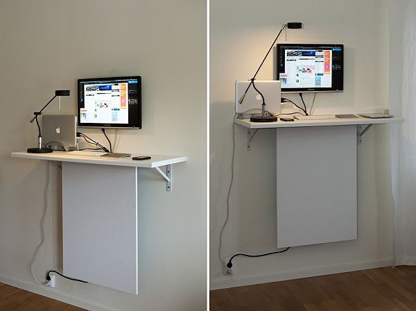 Practical solution using Ikea boards - A solution when you need room for your external hard drives, you do not want to take space on the desk and there is not much other space to use is to use the space existing beneath the standing desk and more exactly, to hang the wires on the back of another Ikea board under the desk.