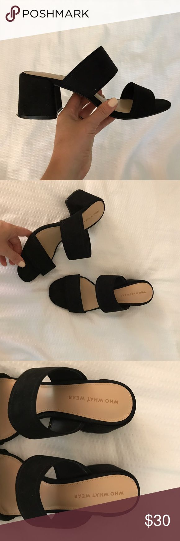 Black Mule Sandals Black stacked heel mule sandals by Who What Wear. Worn once. Size 7. Who What Wear Shoes Sandals