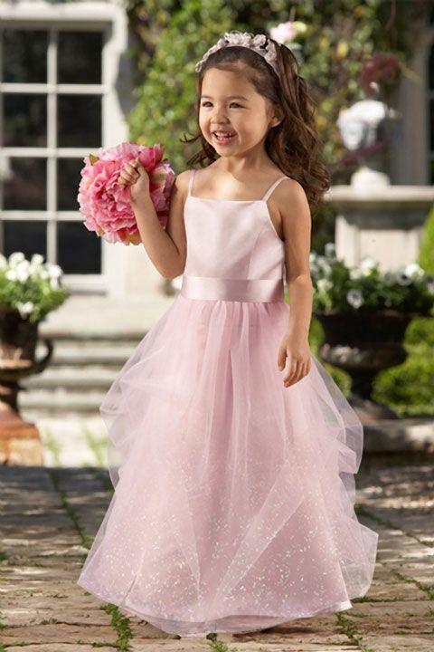 Empire waist sleeveless tulle beautiful flower girl dress