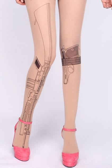 Gun Print Nude Tights