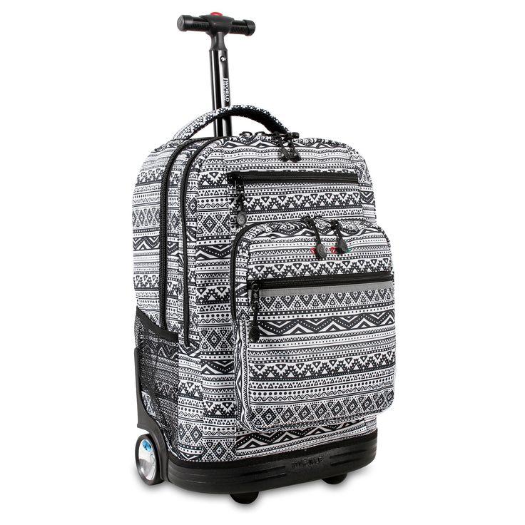 J World Sundance Laptop Rolling Backpack - Tribal, Black
