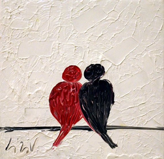 Abstract Painting Red Black White Love Birds Oil  Art on Canvas Romantic Gift