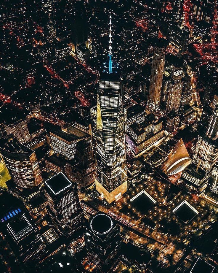 One World Trade Center at night by novayork - The Best Photos and Videos of New York City including the Statue of Liberty, Brooklyn Bridge, Central Park, Empire State Building, Chrysler Building and other popular New York places and attractions.