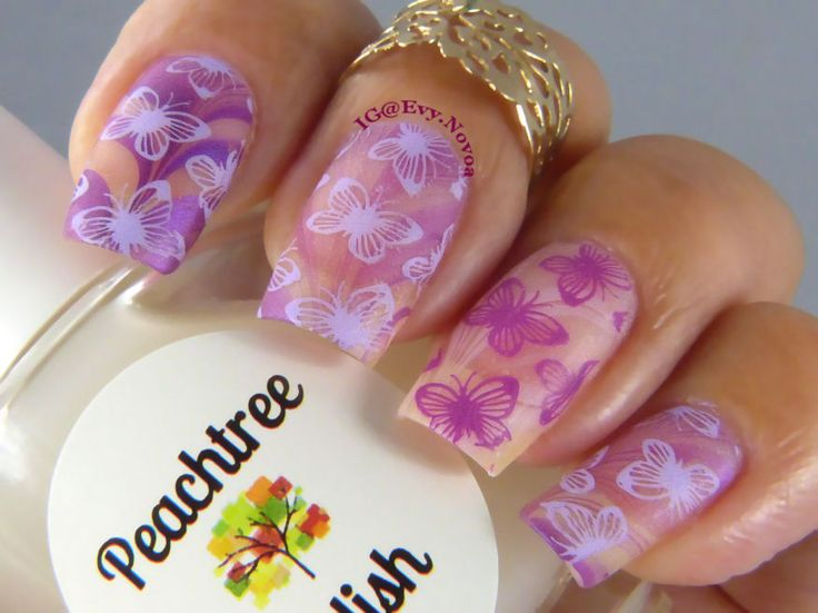 #uñasestampadas #sexynails #moda #estilo #style #fashion #fashionnails #springnails #purplenails #purplepolish #uñasmoradas #butterflynails #watermarblenails