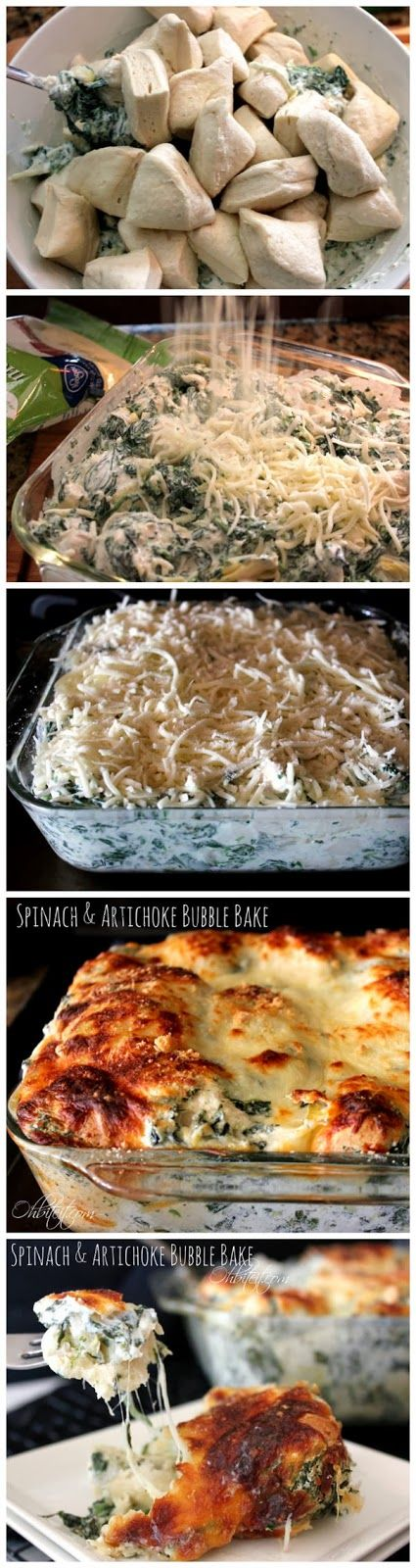 Spinach & Artichoke Bubble Bake -  Pillsbury Grands Flaky Layers Biscuits, Frozen Spinach, Shredded Mozzarella, can of Artichoke Hearts, Cream Cheese ,Grated Parmesan, Sour Cream, Cayenne Pepper..optional. See more at: http://www.redstarrecipe.com/2013/10/spinach-artichoke-bubble-bake.html#sthash.oxHt4WyD.dpuf