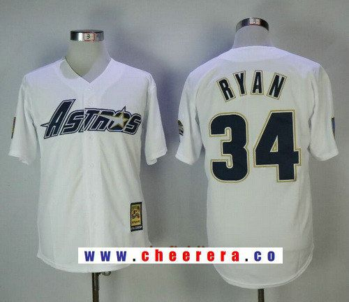 Men's Houston Astros #34 Nolan Ryan White Astrodome 1981 Throwback Cooperstown Collection Stitched MLB Mitchell & Ness Jersey