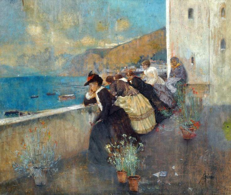 Donne in Terrazza Attilio Pratella (1856 - 1949) prints by this artist