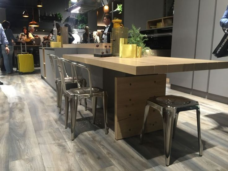 Countertop Height Bench : Wood countertop bar height table