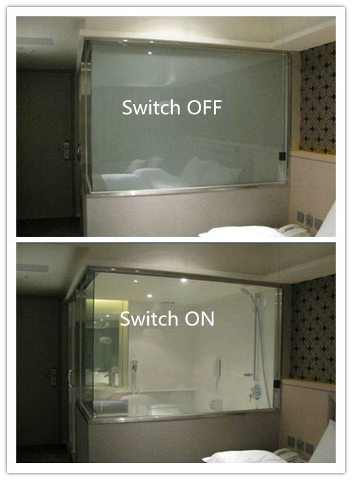 Yes!  Had this in our hotel room in Hawaii - AWESOME!! LCD Smart Glass balances perfectly between stylish glass partitions and the privacy of a traditional wall.  Low power consumption Sensor capabilities Private to transparent in 1 millisecond Optional colors and graphics available Solar reduction up to 40%  If interested, please email me at : ada.kong@yt-rushui.com, skype:adak1573 for further information.