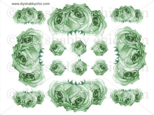 FRENCH-FURNITURE-DECAL-DIY-SHABBY-CHIC-IMAGE-TRANSFER-VINTAGE-GREEN-ROSES-FLOWER