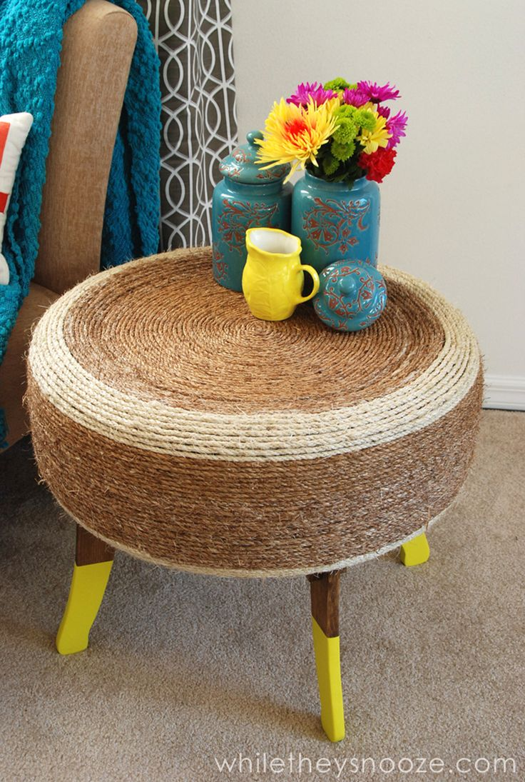 Clean up an old tire and prepare a sisal rope to make this trendy coffee table.