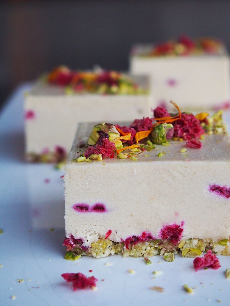 Raw Vegan White Chocolate and Raspberry Cheesecake slices