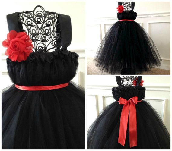 Black Flower Girl Dress with Red Accents / etsy.com / The HELLRAISER Wedding