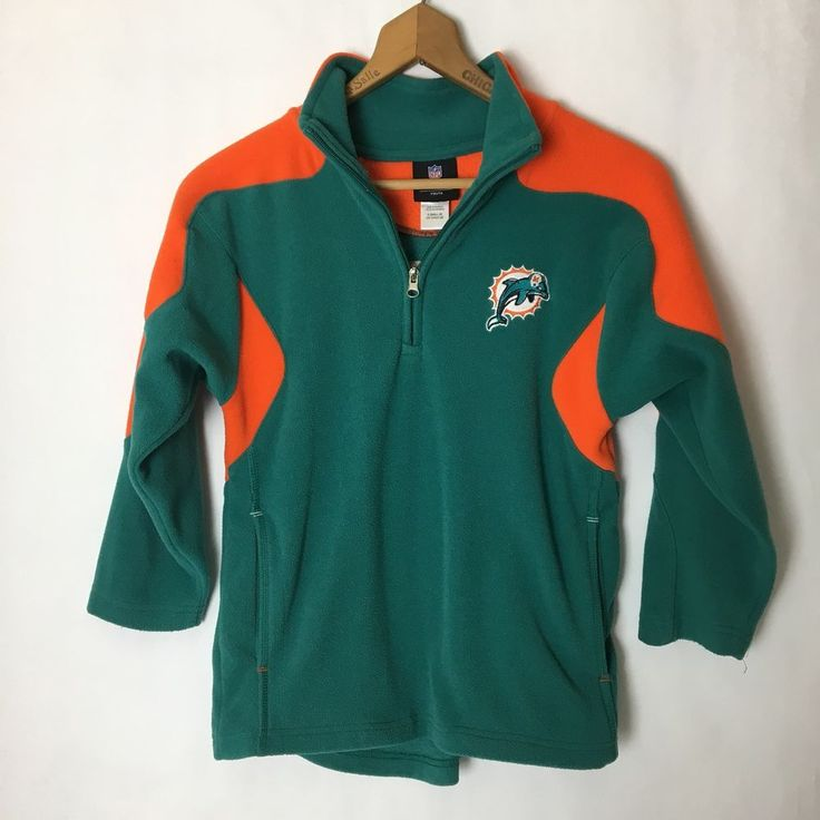Miami Florida NFL Dolphins Size Youth S (8) Fleece Official Team 1/2 Zip Jacket  | eBay