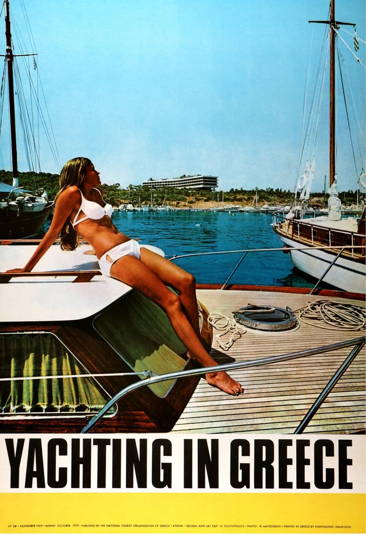 Holidays in Greece: a history in tourism posters  Greece is one of the first destinations to be chosen by Britannia Airways for its new Boeing 737 jet, with charters from Luton to Athens. In 1968, Jacqueline Kennedy marries the Greek shipping magnate Aristotle Onassis on the Ionian island of Skorpios.