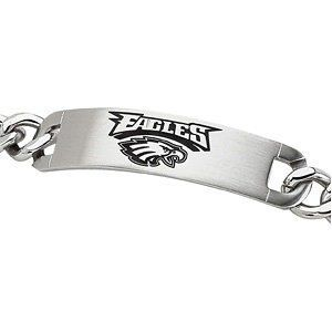 """Stainless Steel Black Philadelphia Eagles ID Link Bracelet 8"""" The Men's Jewelry Store. $75.00. The Mens Jewelry Store NFL Sports Center. NFL Officially Licensed Logo Team Name and Mascot for Philadelphia Eagles Fans. 316L Stainless Steel Curb Links is Gentle on Sensitive Skin and is Hypoallergenic. Philadelphia Eagles are Sharp in Black Enamel. Polished Philadelphia Eagles Logo Identification Bracelet is 8 Inches in Length"""