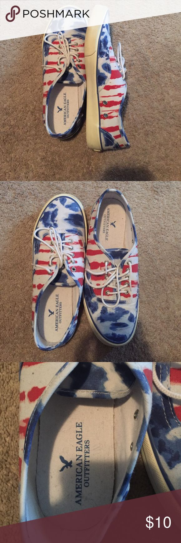 size 10 American Eagle canvas shoes Men's size 10. Red white and blue American Eagle shoes. Patriotic! New without tags American Eagle Outfitters Shoes Loafers & Slip-Ons