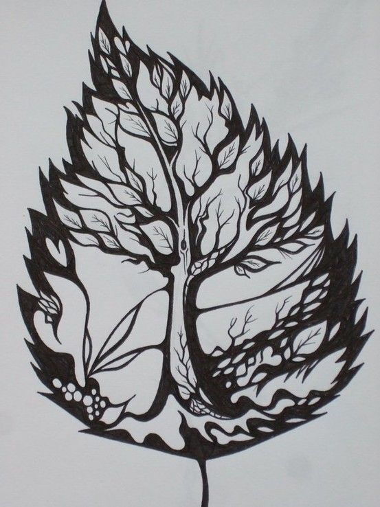 Amazing Leaf Tree Tattoo idea