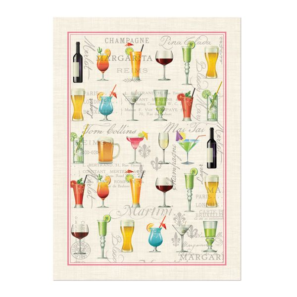 Michel Design Works Tea Towel - Cocktail — There's nothing shy or demure about our kitchen towels! The bold natural-history prints demand attention and deserve it. And they're made of natural woven cotton, so they're as practical as they are impressive.