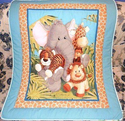 """Пледы и одеяла ручной работы. Ярмарка Мастеров - ручная работа. Купить Детское одеяло """"Веселые джунгли """" Одеяло для мальчика. Для девочки. Handmade."""