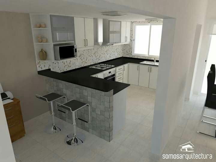 Cocina con desayunador cocina living comedor pinterest - Fotos de cocinas de diseno ...