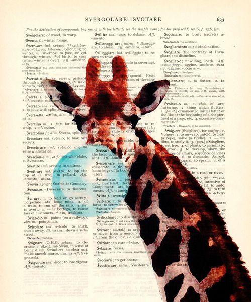 Wandschablonen - Kinderzimmer Dekoration Giraffe mit Kaugummi - ein Designerstück von Dictionary-vintage-book-page bei DaWanda