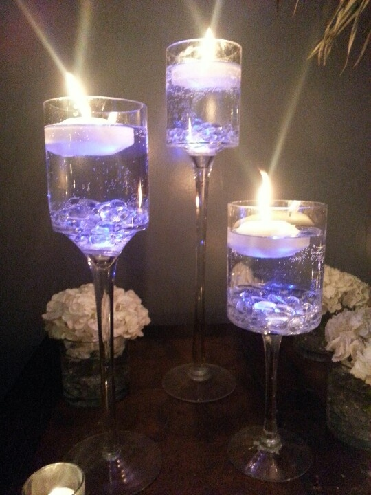 Blue Led In Crystals With Floating Candles Floating
