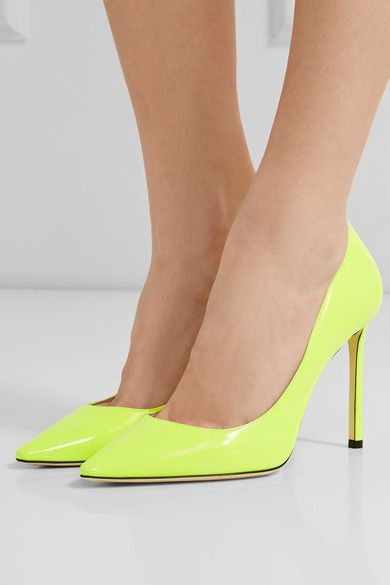 Heel measures approximately 100mm/ 4 inches Neon-yellow patent-leather Slip on Made in ItalySmall to size. See Size & Fit notes