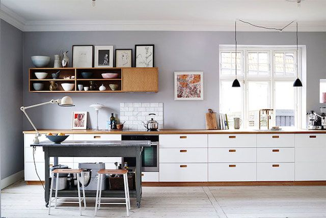Kitchen in the fab Danish home  of Ditte Isager.