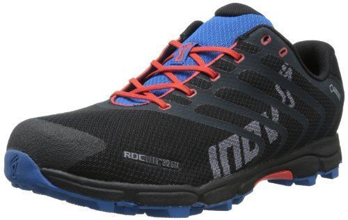 Inov-8 Men's Roclite™ 312 GTX Trail Running Shoe,Black/Red/Blue,10 M US Waterproof and breathable Gore-Tex membrane. Designed for long-distance running over wet and rocky terrain. 9mm heel-to-toe drope. 6mm footbed. EVA foam midsole. Meta Shank II support. #trailrunningshoes #TrailRunningTips