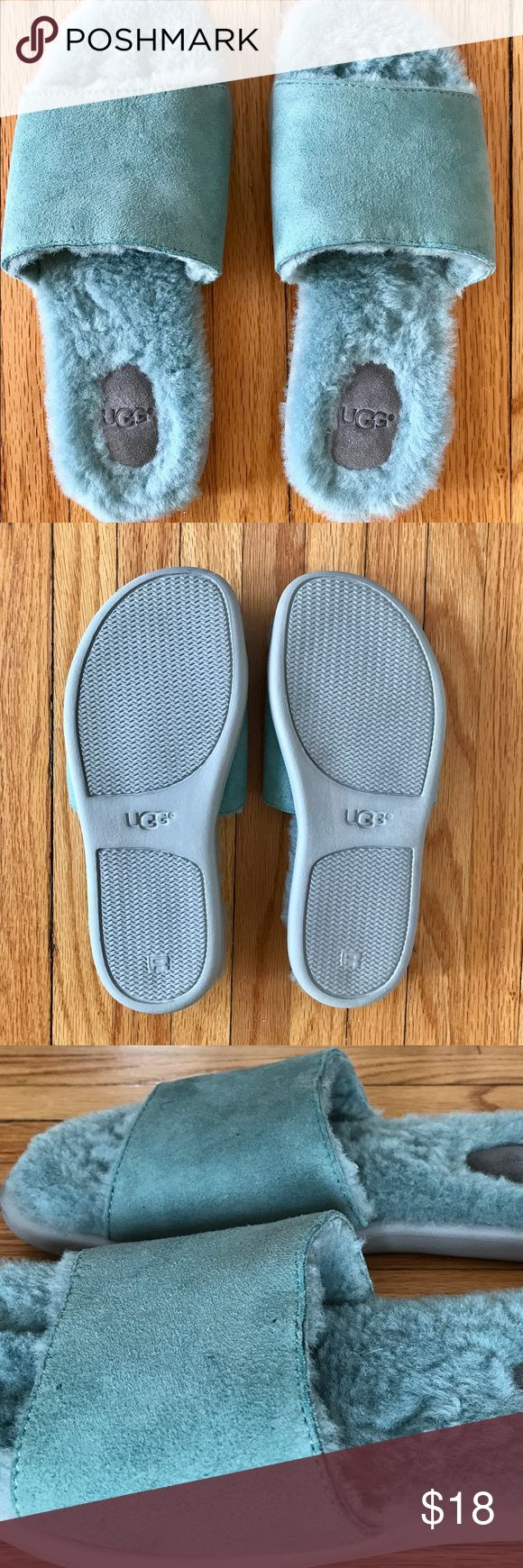 UGG Breezy Slide Shearling Slipper - SZ 7! Only wore 2 times indoors w/socks 😊. Lovely seafoam color. Fully lined genuine sheepskin. Suede upper/w embossed logo on footbed. Durable rubber sole for indoor and outdoor use. Treadlite by UGG™ outsole for ultimate comfort. UGG Shoes Slippers
