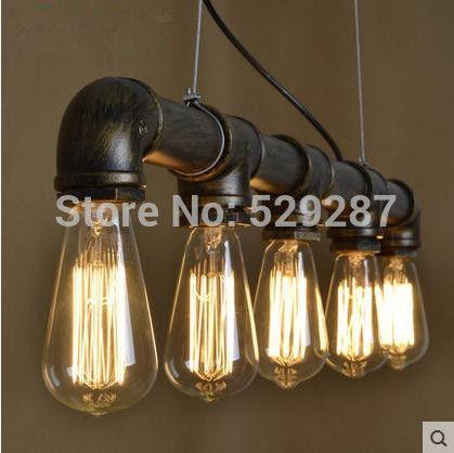 Industriële Vrijmaken verzending LED lampen Loft stijl retro restaurant bar verlichting industriële pijp serie vijf bollen(China (Mainland))