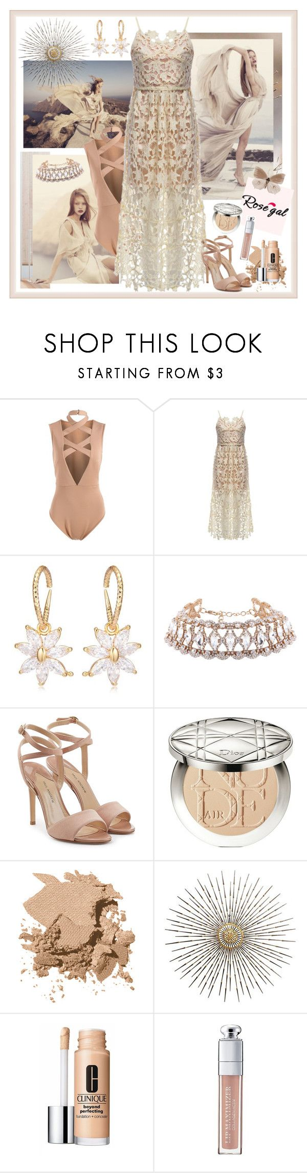 """Rosegal Spaghetti Strap Dress"" by carola-corana ❤ liked on Polyvore featuring Paul Andrew, Christian Dior, Bobbi Brown Cosmetics and Clinique"