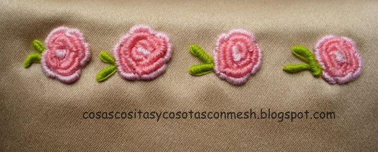 Flores rococo bordadas paso a paso - Imagui