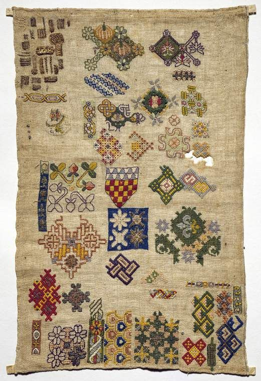 England c 1620 - Spot motif sampler embroidered in poly chrome silks, silver, and silver-gilt metal thread