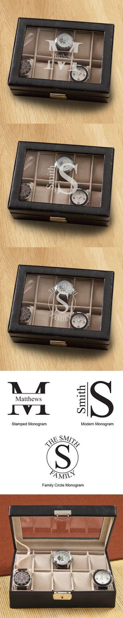 Monogrammed Men's Hinged-Lid Black Leather Watch Box