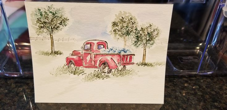 Watercolor with  5011 WC Mini Truck and   5010 Tree Set 1