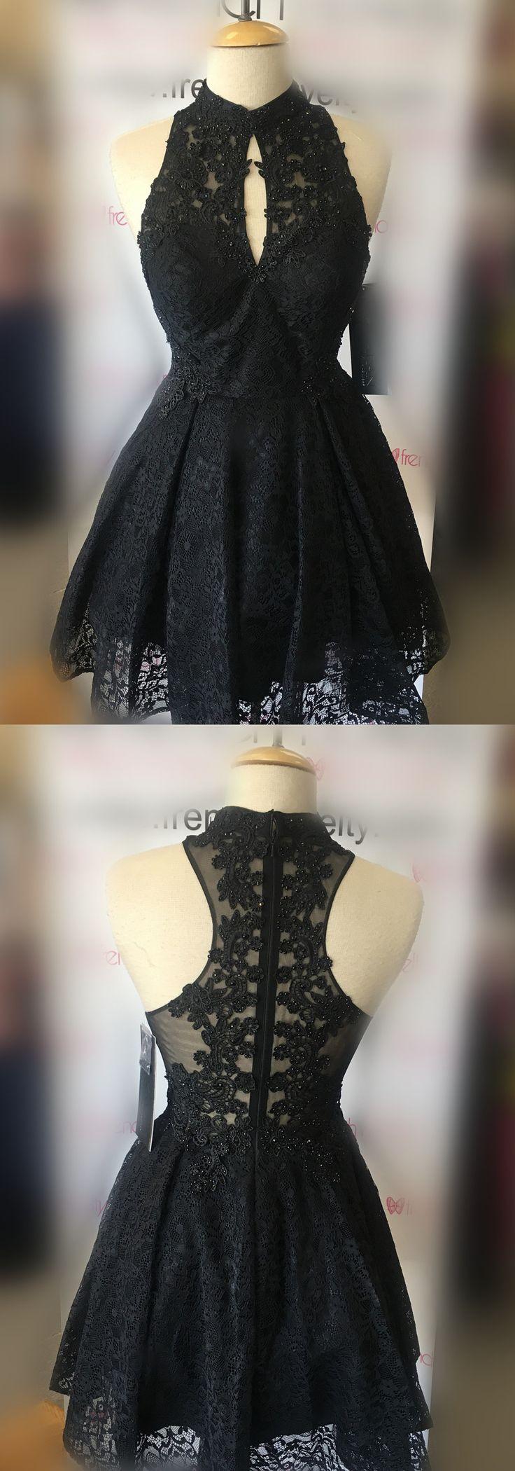 little black dress, short black lace prom dress homecoming dress, 2018 black short prom dress hoco dress, party dress