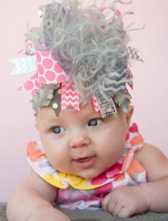 Gray & Neon Pink Over the Top Hair Bow Headband