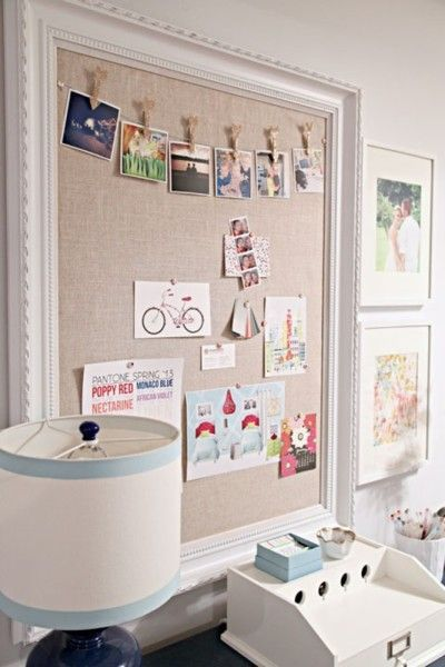 Vision board with beautiful frame, burlap back and wires across to use close pins.