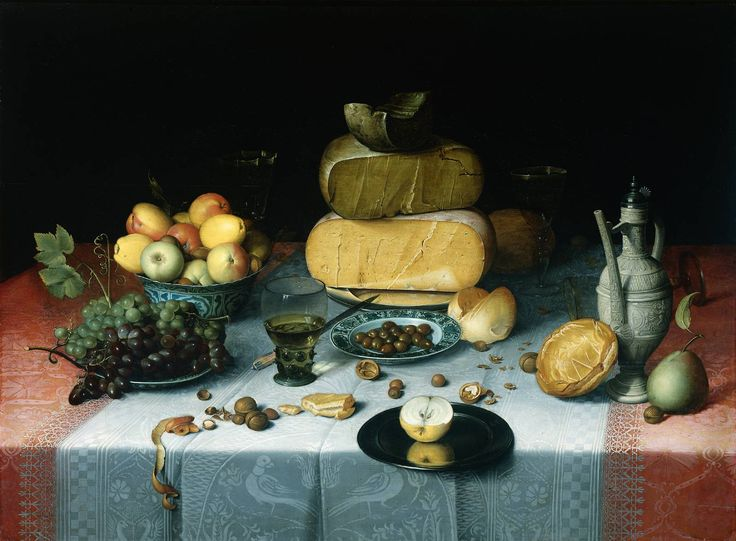 Spread out on a richly prepared table are a variety of cheeses. All around are dishes with fruit, glasses, a jug, nuts, bread and a pear. Bright colours dominate in this still life by Floris Claesz. van Dijck: a white damask tablecloth on a heavy, red oriental rug, yellow cheeses and yellowish-red apples. A still life with fruit, bread and cheese was known in the seventeenth century as a breakfast piece. 'ohttp://www.rijksmuseum.nl/images/aria/sk/z/sk-a-4821.z *